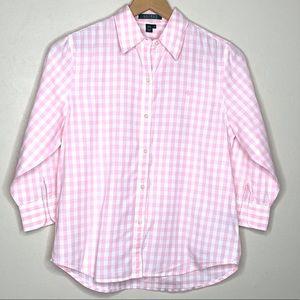 Lauren Ralph Lauren Pink Plaid Button Shirt Sz Med